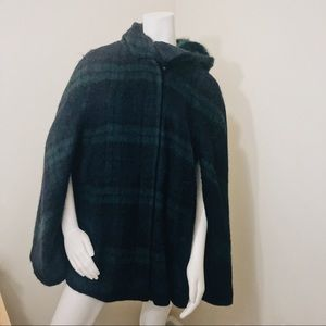 Zara Basic Green gingham poncho
